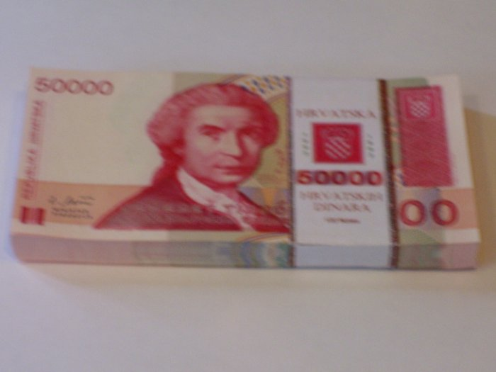 Bundle of 100 - 50,000 Croatian Dinara notes