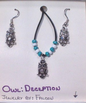 Handmade Necklace and Earring set. Owl