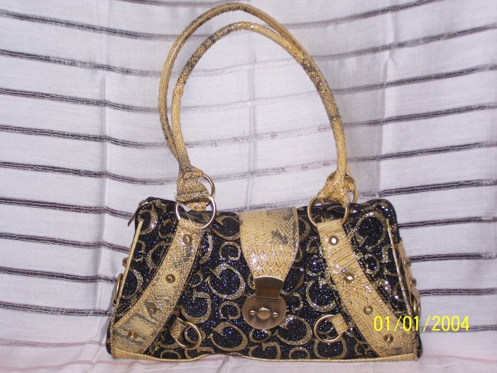 *GUESS* Gold Bling Studs Trim Hobo Handbag Purse.