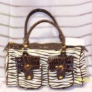 Designer Zebra Handbag Purse Hobo Croc Leather Lk