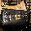 Small Black Handbag with gold buckles