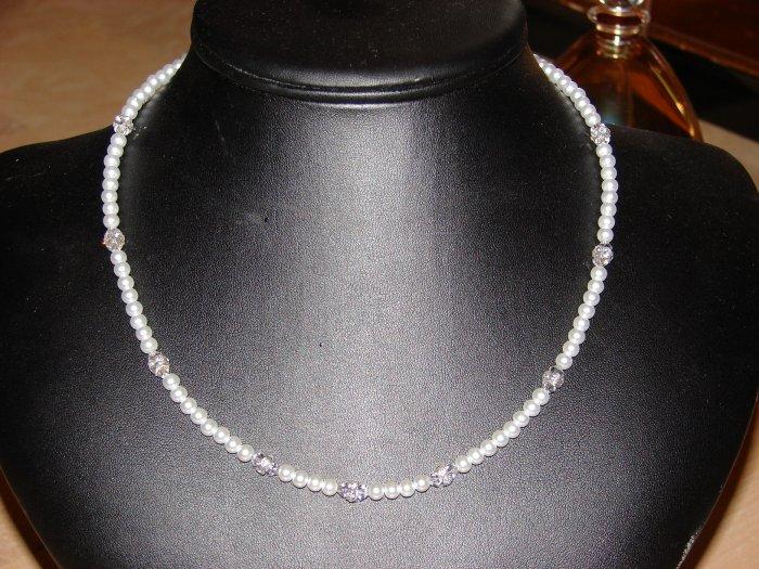 Pearl & Swarovski crystal necklace