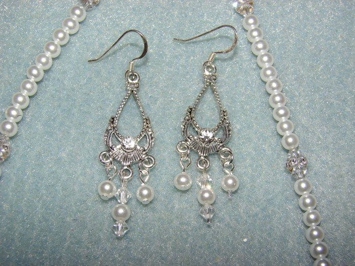 Sterling Silver Swarovski crystal & pearl earrings