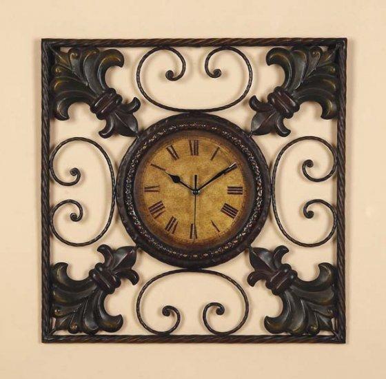 Fleur Di Lis Metal Decor Wall Clock Art Plaque Hanging