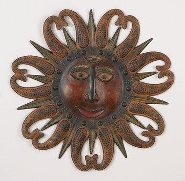 Aztec Sun Metal Wall Decor Art Plaque Hanging Sculpture