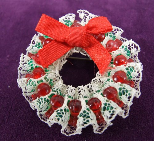 Handmade Wreath Pin with red beads lace and bow