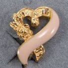 Pink Ribbon Clip Earrings by Avon from the 1990s