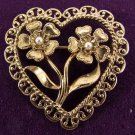 Antiqued Heart Pin by Avon from the 1990s Brooch