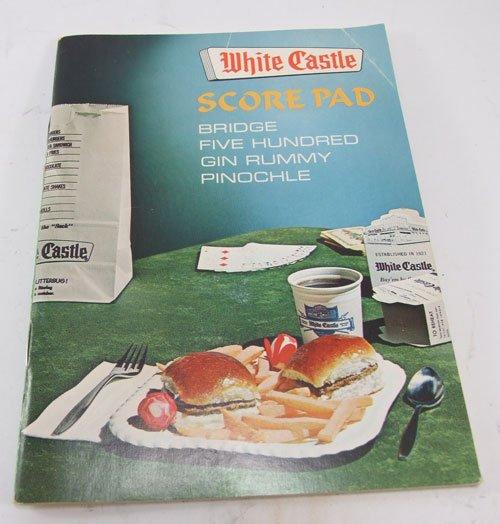 White Castle Score Pad Bridge Gin Rummy Pinochle Five Hundred