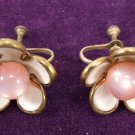 Vintage Five Pedal Flower with Pearl Center Earrings