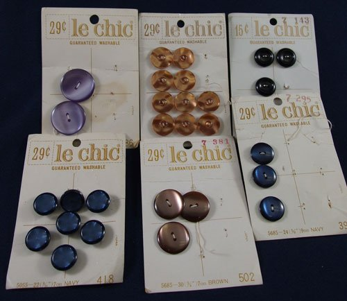 Assortment of Le Chic buttons on original cards