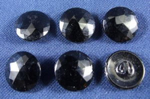 Round Black Glass Buttons
