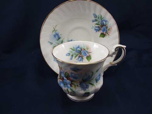 Queens Small Blue Flower Pattern Cup and Saucer
