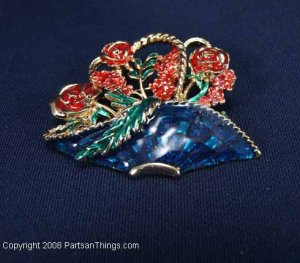 Roses in a Basket Brooch Pin