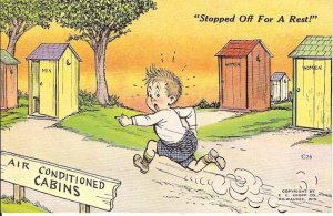 Color Cartoon Postcard from the '40's Stopped off for a rest Kropp