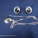 Silver disk with Black Stone Necklace and Earrings Ear Rings