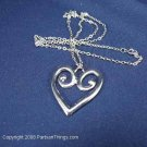 "Silver Heart Shaped Pendant on 12"" chain"