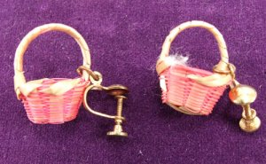 Hanging Woven Wicker Basket Earrings Screw Post