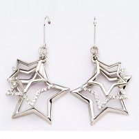 Sterling Silver Star Cluster Hook Earrings  (lib)