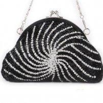Luxurious Handmade Kiss-Lock Pouch Clutch--Black  (lib)