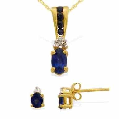 14 K Yellow Gold Genuine Blue Sapphire and Diamond set
