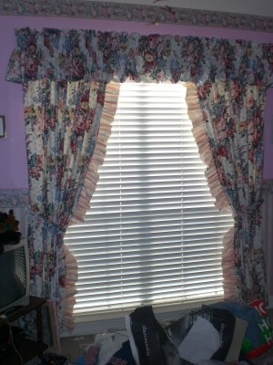 Custom Pink Floral Lined Drapes / Curtains with Valance
