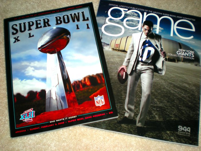 SUPER BOWL XLII Game PROGRAM GIANTS Eli Manning JERSEY Program COLLECTOR'S EDITION MAGAZINE