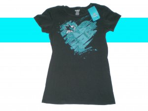 SAN JOSE SHARKS WOMENS VINTAGE RETRO I HEART SHARKS HOCKEY GLITTER FASHION SHIRT