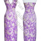 Chinese Ankle Length Cheongsam - Divine Purple