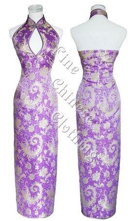 Chinese Ankle Length Cheongsam - Divine Purple