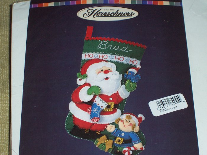 Santa & Elf  Felt Christmas Stocking