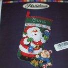 Santa & Elf  Felt Christmas Stocking