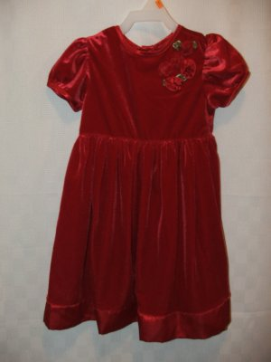 NWOT Red Short Sleeve Soft Valentine Dress 4T 4 T Flower made from Ribbon
