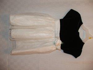 Black Cream Dress Sparkles-Glitter Short Sleeve NWOT