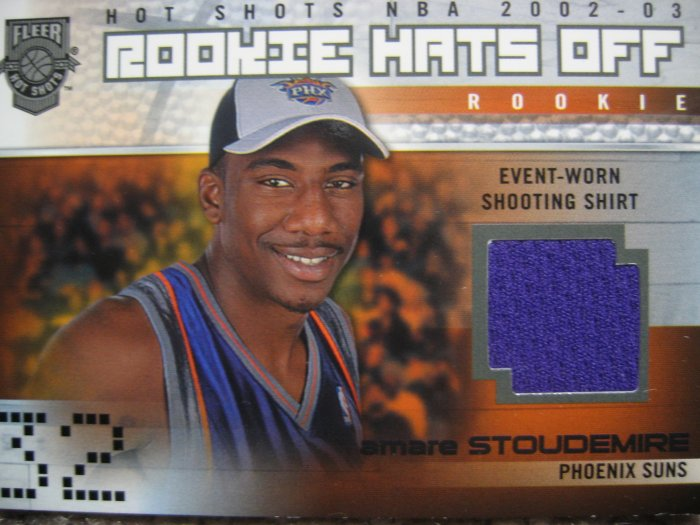 02-03 Fleer Hot Shots Amare Stoudemire Game worn rookie jersey card