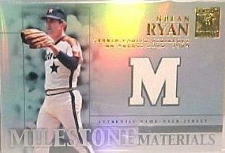 2002 Topps Tribute Milestone Materials Nolan Ryan Game Used Jersey Card