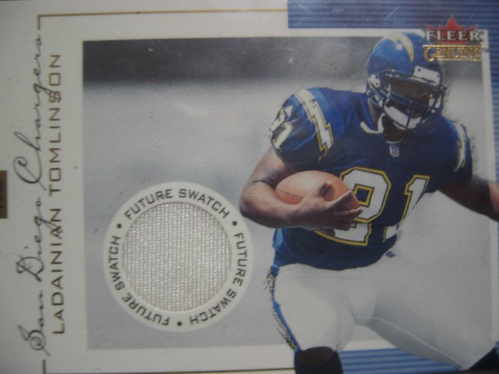 Fleer Genuine Ladainian Tomlinson Rookie Game Used Jersey Card.