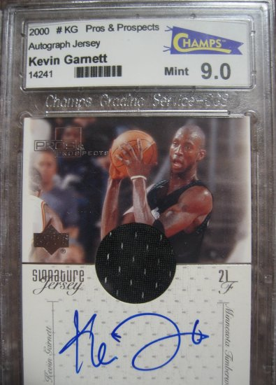 Graded 2000 Upper Deck Pros &Prospects Kevin Garnett Autographed Game used Jersey card (Mint)
