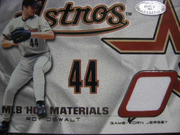 2002 Fleer Hot Prospects Roy Oswalt MLB Hot Materials Game worn Jersey card