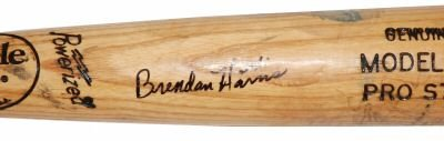 BRENDAN HARRIS SIGNED GAME USED BAT WITH SIGNED LETTER OF AUTHENTICITY (ASI)