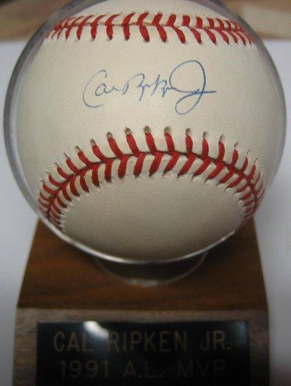 Cal Ripken Jr. Signed Official Major League Baseball with Display Stand (JSA)