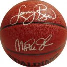 Lary Bird & Magic Johnson Signed Basketball (Mounted Memories)