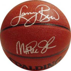 Lary Bird & Magic Johnson Signed Basketball (Mounted Memories)
