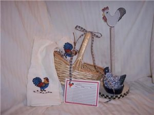 Country ROOSTER Kitchen Gift Basket    house warming