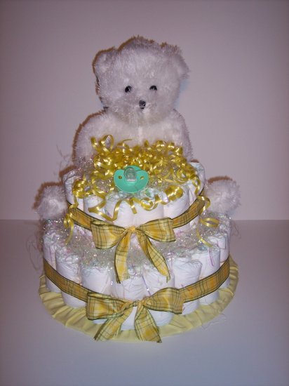 2 Tier Bear Baby Shower Diaper Cake Centerpiece UNISEX