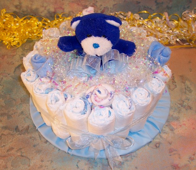 1 Tier BOY or GIRL Baby Shower Gift DIAPER CAKE