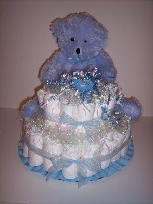 2 Tier Boy Bear Baby Shower Gift Diaper Cake