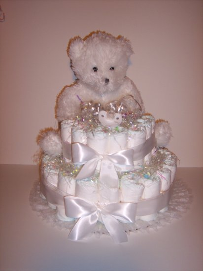 2 Tier UNISEX Bear Baby Shower Diaper Cake ALL WHITE