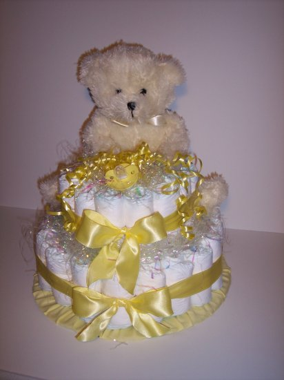 2 Tier Bear Baby Shower Diaper Cake Centerpiece YELLOW