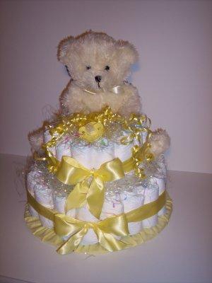 2 Tier Bear Baby Shower Diaper Cake Centerpiece YELLOW